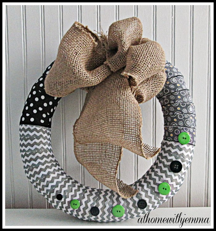 Fabric and Button Spring Wreath-DIY