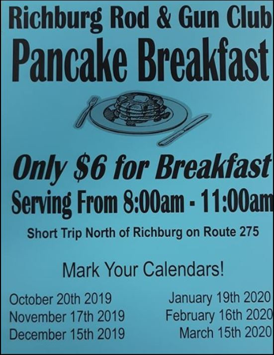 11-17 Pancake Breakfast, Richburg Rod & Gun Club