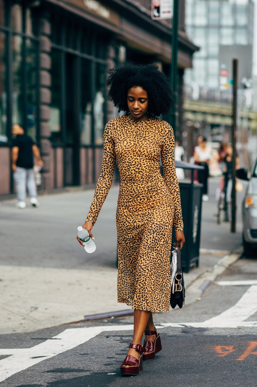 Street Style Outfit Inspiration — Leopard Print Dress and Platform Sandals