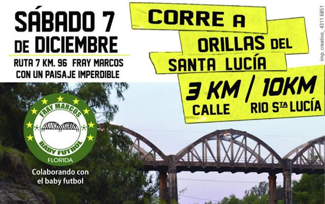 3k calle y 10k trail Corre a orillas del Santa Lucía (Fray Marcos - Florida, sáb 07/dic/2019)