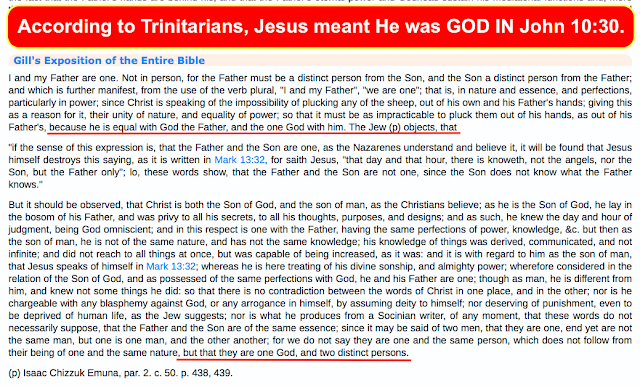 the first church fathers believed Jesus is GOD, followed by the first Trinitarians themselves, followed by the Trinitarians today, we see they have all followed in the same paten and footsteps as the Jews who misunderstood the phrase: I and the Father are ONE. Instead they believed that Jesus was claiming to be ONE GOD with the Father.