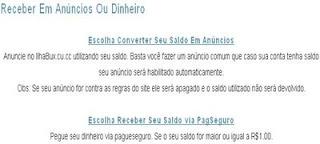 Página para converter saldo em pacote de anúncio ou requisitar pagamento do PTC IlhaBux