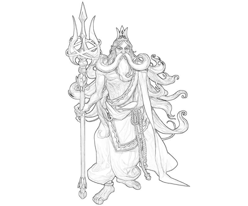 poseidon greek god coloring pages - poseidon black and white coloring pages