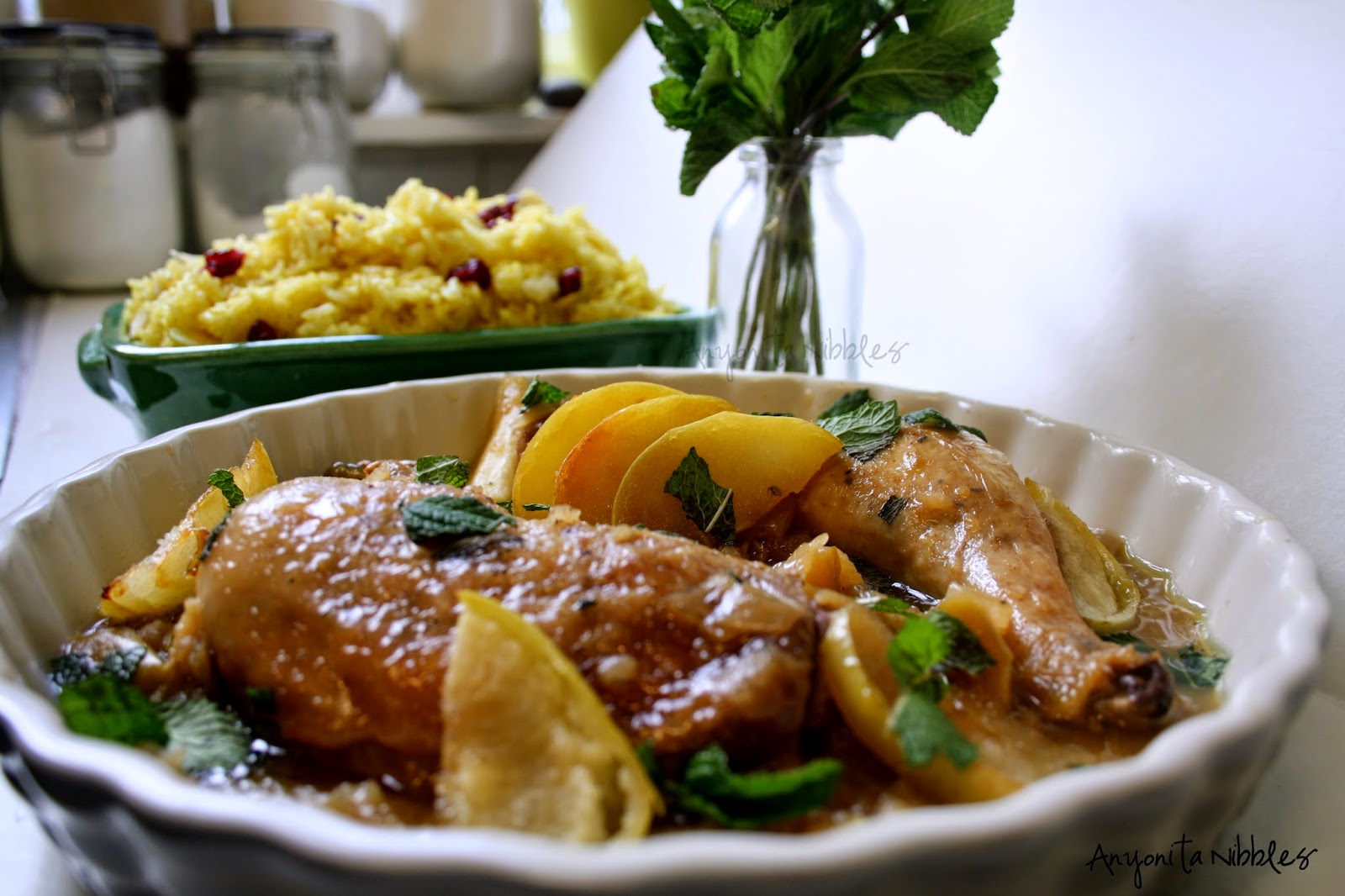 This sweet chicken dish is served with vibrant turmeric rice | Anyonita Nibbles