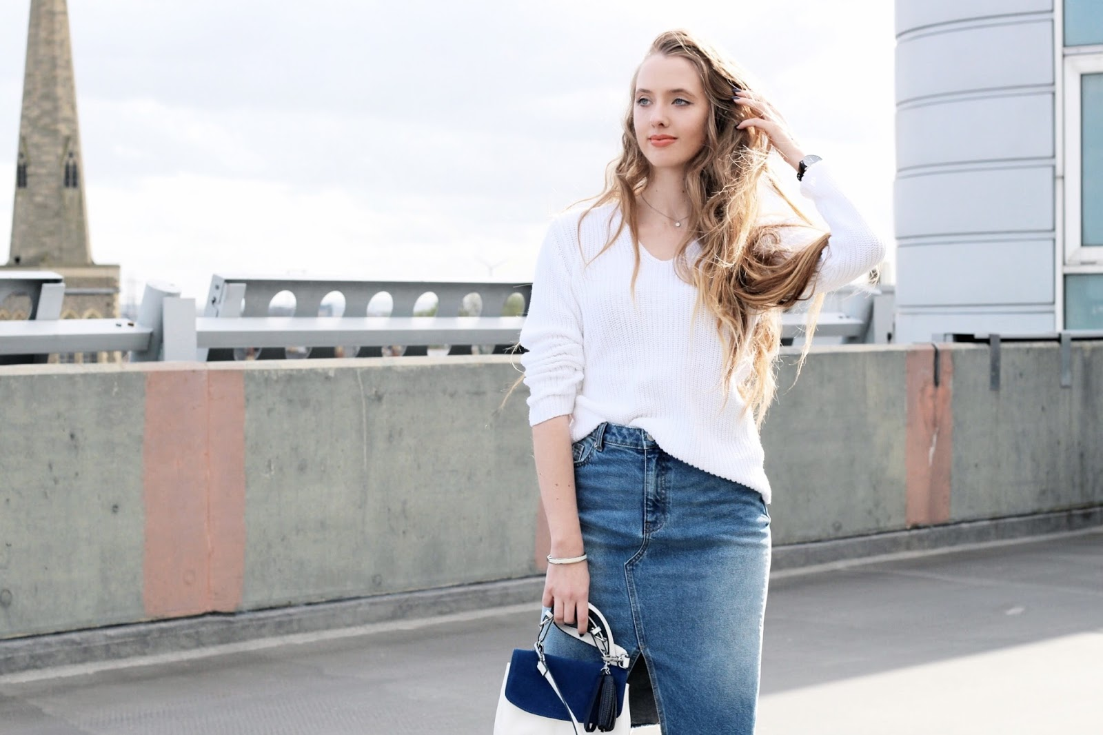 Double Denim Styling a Pencil Skirt