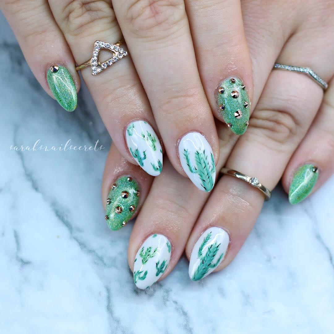 Green Cactus Nail Design