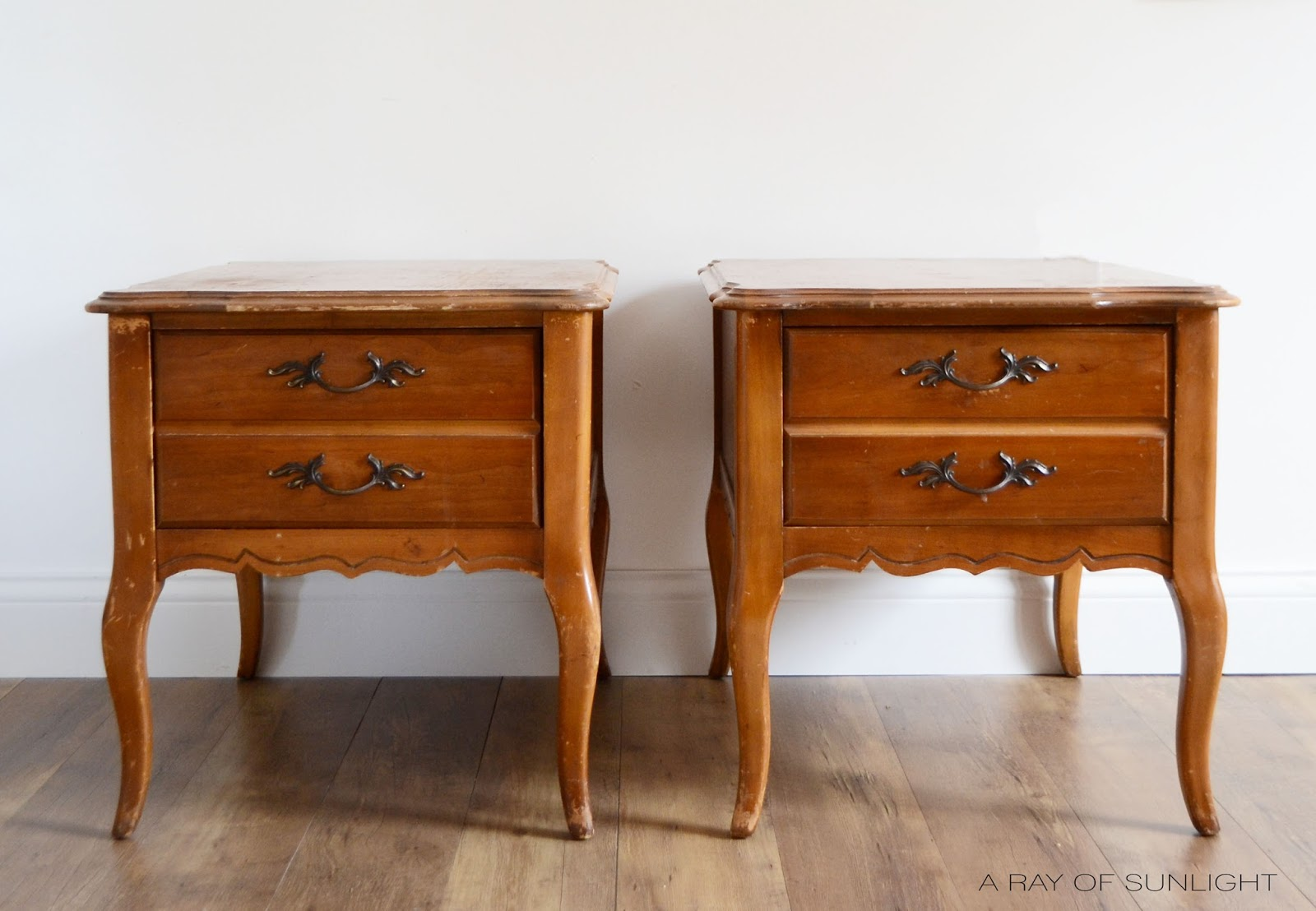French Provincial Nightstands in Old Blue Amulent Ceramic Based Paint and General Finishes Van Dyke Brown Glaze