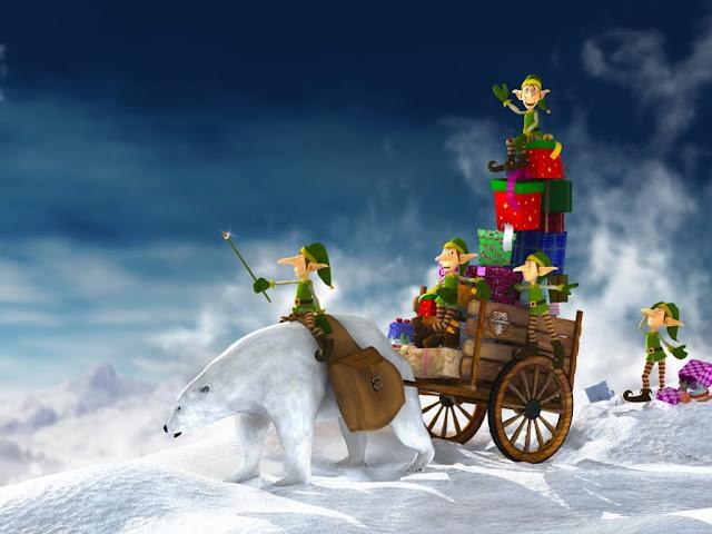 merry christmas iPad 2 cartoon wallpaper