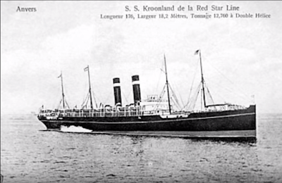 SS Kroonland Red Star Line postcard image from Anvers