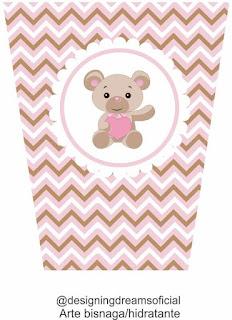 Etiquetas de  Osito Bebé con Corazón Rosa para imprimir gratis.