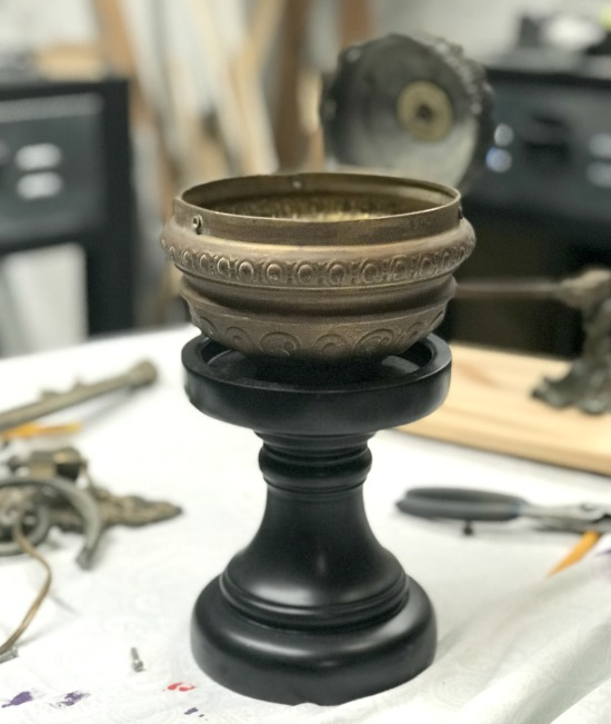 Repurposed lamp parts and candle stick planter