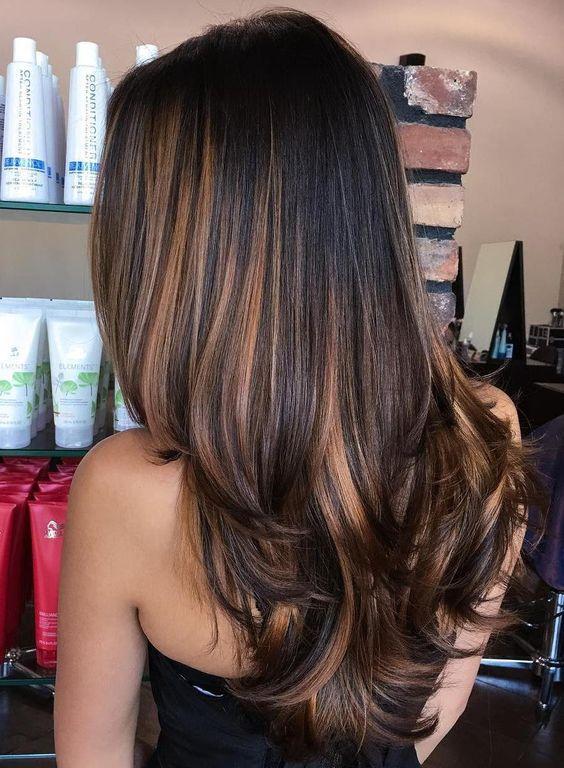 02 straight black hair with rich caramel highlights
