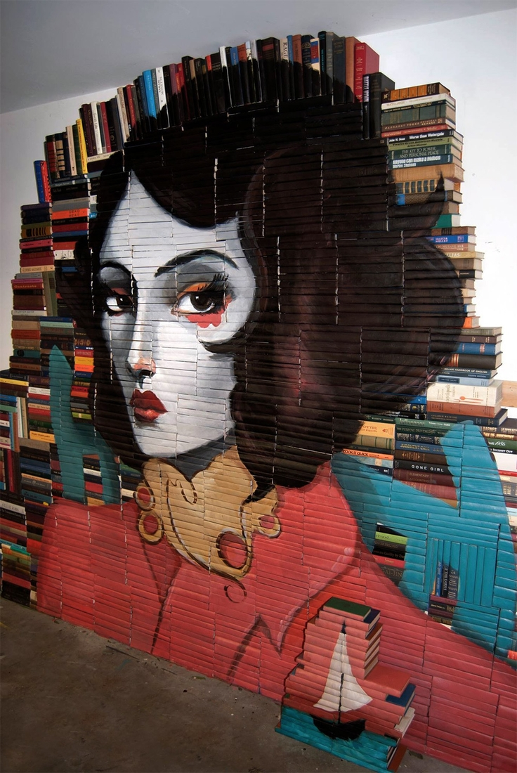 04-Mike-Stilkey-Books-used-as-Canvasses-for-Paintings-www-designstack-co