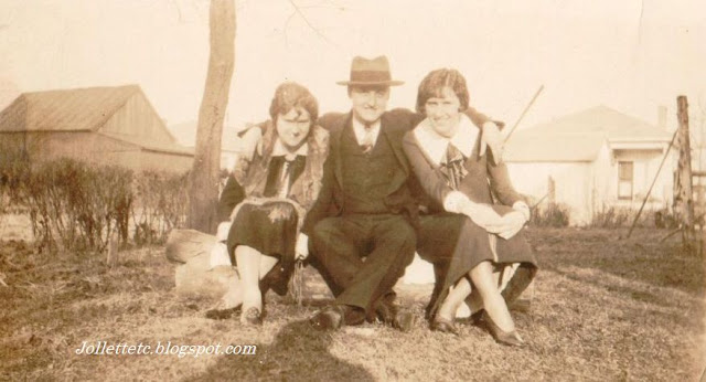 Mae Killeen, Cliff Holland, Helen Killeen about 1920 https://jollettetc.blogspot.com