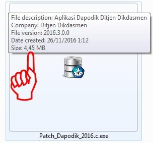 Pastikan Ukuran Patch Aplikasi dapodik Versi 2016c sebesar 4, 45 MB