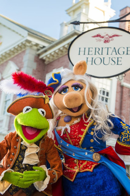 """The Muppets star in live show at Magic Kingdom Park, called """"The Muppets Present… Great Moments in American History.""""  Sam Eagle, the fiercely patriotic American eagle who is forever trying to set a high moral standard for the Muppets, will join Kermit the Frog, Miss Piggy, Fozzie Bear, The Great Gonzo and James Jefferson, town crier of Liberty Square, as they gather outside The Hall of Presidents to present historical tales in hysterical Muppets fashion. From the midnight ride of Paul Revere to the signing of the Declaration of Independence, the Muppets will appear throughout the day to share their own unique take on the founding fathers ............."""