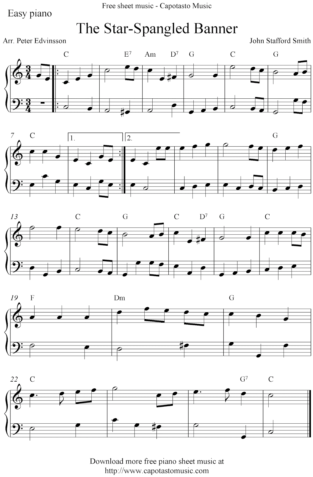 Free Printable Sheet Music Free Easy Piano Sheet Music Score The Star Spangled Banner