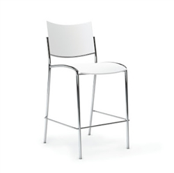 Easy To Clean White Plastic Bar Stool