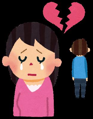失恋のイラスト「ふらられた女性」