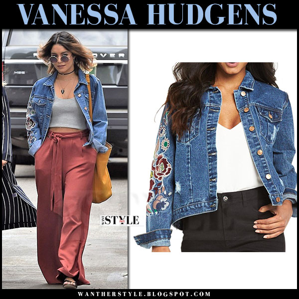 Vanessa Hudgens in denim embroidered glamorous jacket and wide leg pants what she wore