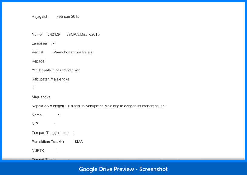 contoh surat permohonan izin belajar untuk PNS (Guru)