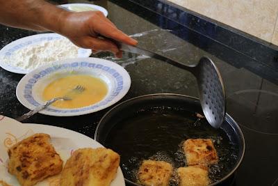 Preparación de leche frita casera