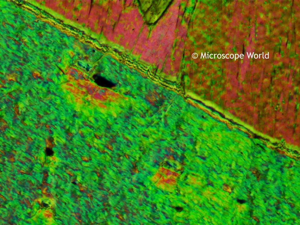 Tremolite under the polarizing microscope using the 1/4 wave plate.