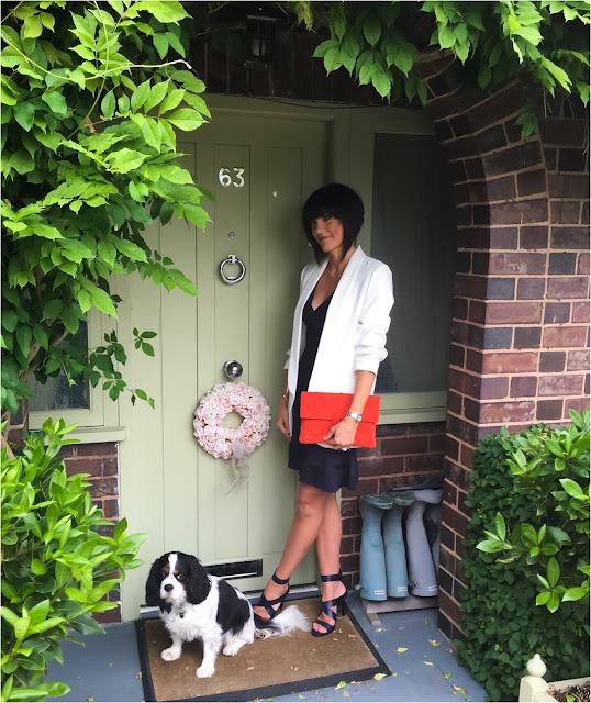 My Midlife Fashion, French Connection Amhara Knits Fluted Hem Dress, Boden soft suede clutch, zara turn up sleeve blazer, zara cross over sandals
