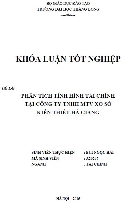 Phân tích tình hình tài chính tại Công ty TNHH một thành viên Xổ số Kiến thiết Hà Giang
