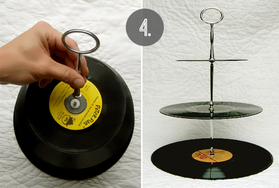 Bubby And Bean Living Creatively Diy Tutorial Vintage Vinyl Record Dessert Stand