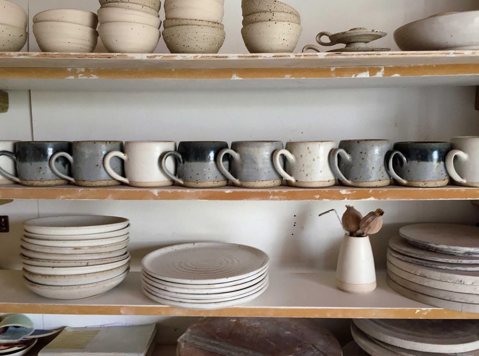 Shelfie: pots in process in Liz's studio