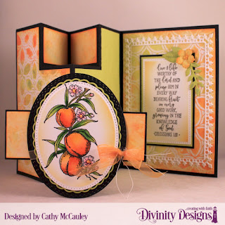 Divinity Designs Stamp Set: Peach Branch, Stencils: Petals,Custom Dies: Half-Shutter Card with Layers, Belly Band, Festive Favors, Pierced Rectangles, Pierced Ovals, Lavish Layers, Layered Lacey Ovals, Oval Stitched Rows
