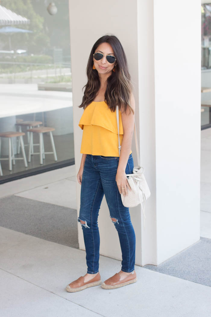 flirty yellow top and jeans