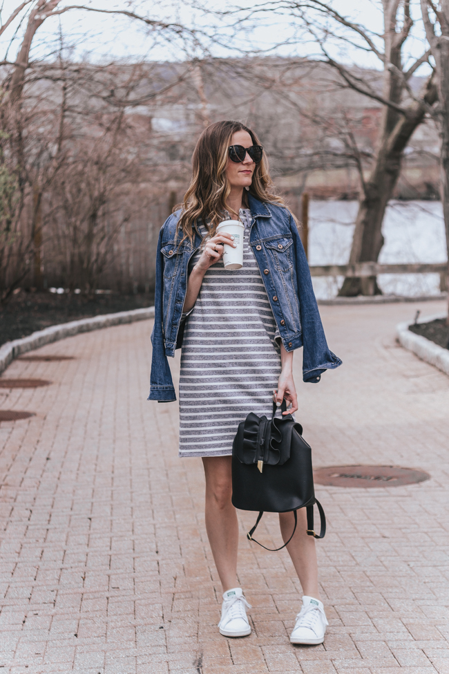 Stripe Sweatshirt Dress #stripedress #springfashion