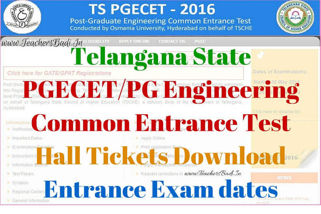TS PGECET,Hall Tickets,Exam dates