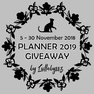 Planner 2019 Giveaway by Lullabyssz, Hadiah Planner 2019, Blogger Giveaway, Blog,