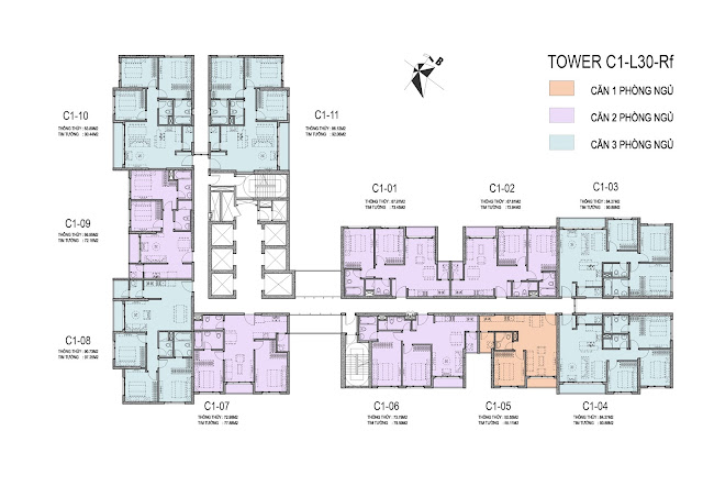 Mặt bằng điển hình căn hộ tòa C1 dự án Vinhomes D'Capitale Trần Duy Hưng