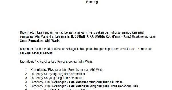 Contoh Surat Pernyataan Ahli Waris Detil Gambar Online