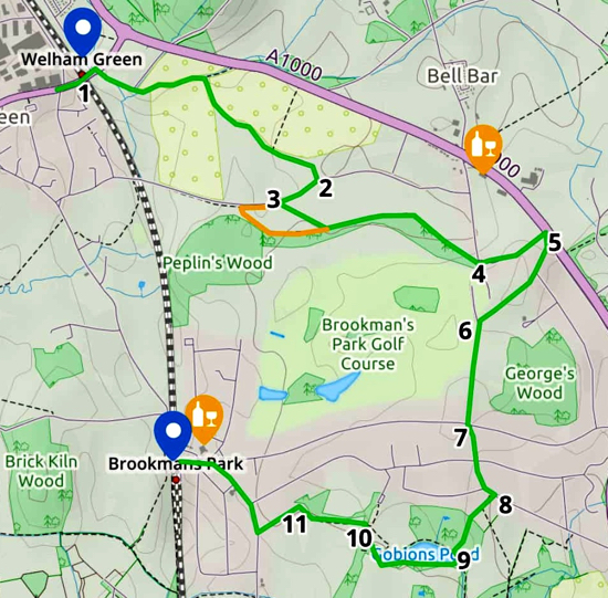 Map for Walk 71: Brookmans Park Linear NE Created on Map Hub by Hertfordshire Walker Using elements © Thunderforest © OpenStreetMap contributors Note: There is a larger, more detailed map embedded at the end of these directions