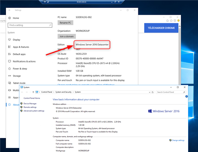 Installer Chrome sur un Windows 2016 Datacenter