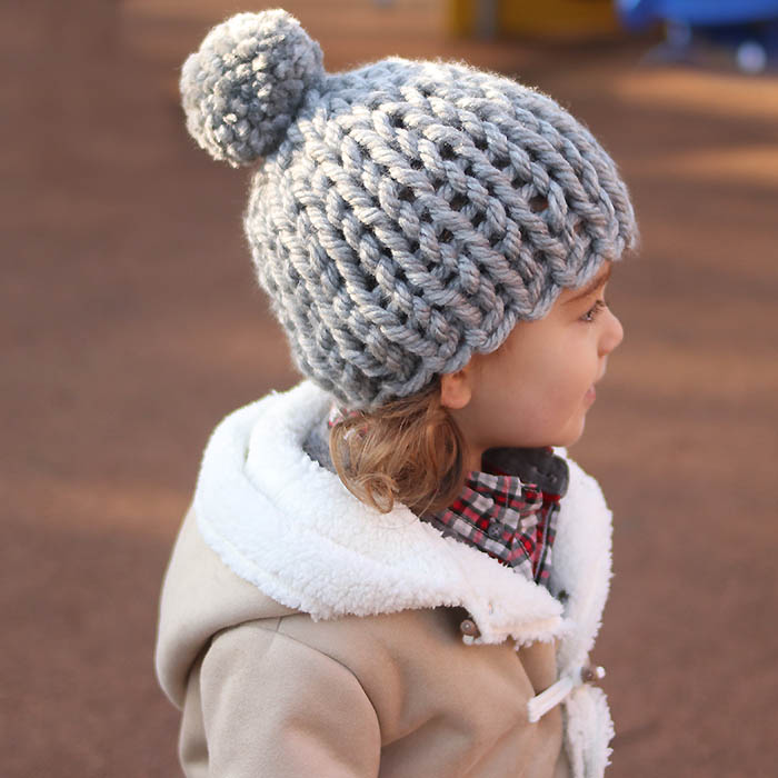 30 Minute Flat Knit Kids Hat Free Knitting Pattern by Gina Michele