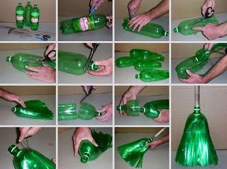 Escoba con botella o envase plásticos