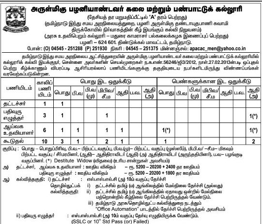 Arulmigu Palani Andavar Arts and Cultural College Typist