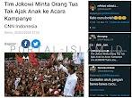 Tim Jokowi Minta Orangtua Tak Ajak Anak ke Acara Kampanye, Warganet: Kalau Cucu Boleh 😁