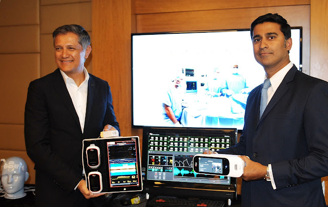 L-R : Mr. Joe Kiani, Founder and CEO, Masimo and Bharat Monteiro, Masimo Country Manager for India, launched their new range of medical device at the press conference held today.