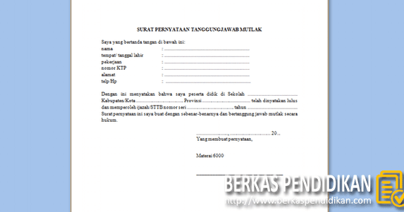Format Surat Pernyataan Tanggung Jawab Mutlak Ijazah Sttb Berkas