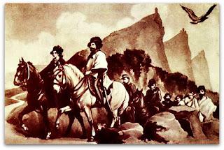 Reprodução do Quadro Italiano - 'Garibaldi e Anita Buscam Refúgio em San Marino'