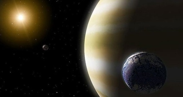 Artist's rendering of what an exomoon (blue) orbiting an exoplanet might look like. Credit: NASA Wikimedia