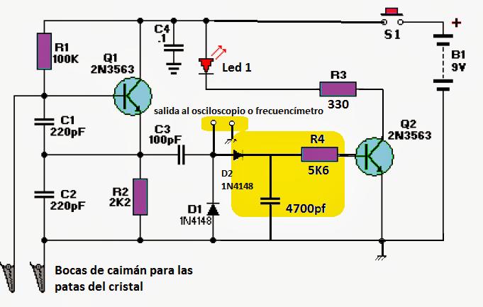 probador o tester de cristales con salida para osciloscopio o frecuencímetro