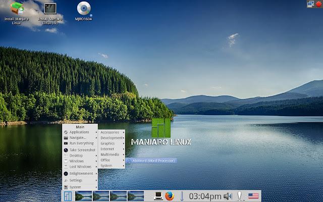 Application menu in Manjaro E20
